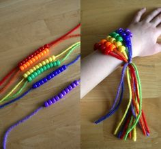 Patrick's Day Craft: Rainbow Friendship Bracelets - We're celebrating St. Patrick's Day by making Rainbow Friendship Bracelets. These are easy to make and fun to give out to friends on this Spring holiday! Pony Bead Bracelets, Pony Beads, Diy Bracelet, Rainbow Birthday Party, Rainbow Theme, St Patrick's Day Crafts, Cute Crafts, Diy For Kids, Crafts For Kids