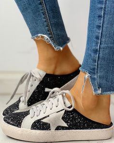 Sequins Star Design Casual Lace-Up Sneakers dresses and accessories all over the world at competitive prices, and with a high level of customer care. Dress With Sneakers, Casual Sneakers, Shoes Sneakers, Baskets, Yeezy Sneakers, Sneaker Heels, Star Designs, Pattern Fashion, Trendy Outfits