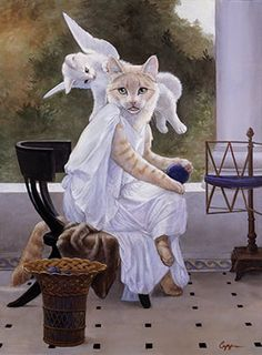 Clothed Cats : Melinda Copper Mewsings (original painting Work Interrupted by Bouguereau) Animal Gato, Cat People, Beautiful Cats, Crazy Cats, Cool Cats, Cat Art, Pet Portraits, Cats And Kittens, Cat Lovers