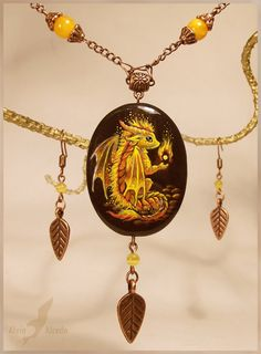Fire baby dragon - stone painting necklace by AlviaAlcedo on DeviantArt