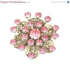 CIJ Sale Vintage Floral Filigree Pink Rhinestone by TheFashionDen, $8.50