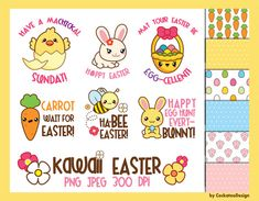 50% OFF SALE, Easter clipart, kawaii clipart, kawaii easter clipart, kawaii bunny clipart, kawaii easter egg clipart, funny, Commercial Use