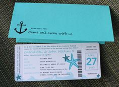 Turquoise & Teal Anchor, Starfish & Waves Yacht Boarding Pass Wedding Invitations