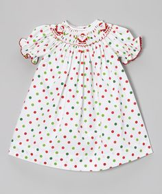 Look what I found on #zulily! Vive La Fête White Polka Dot Santa Bishop Dress - Infant, Toddler & Girls by Vive La Fête #zulilyfinds