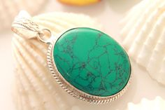 PERFECT GIFT OF VALENTINE VINTAGE TURQUOISE 925 STERLING SILVER FASHION PENDANT #925silverpalace #Pendant