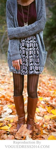 Burgundy shirt, Purple & Blue Printed Skirt, Gray Cardigan, Tights, and Brown Boots