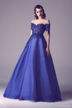 fadwa baalbaki spring 2015 couture blue ball gown wedding dress lace bodice