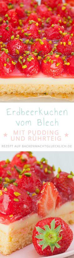 Dieser köstliche Erdbeerkuchen mit Pudding ist ein Klassiker, der einfach immer gut ankommt: Auf einen saftigen Rührteigboden folgen eine Schicht Vanillepudding und viele frische Früchte. Das perfekte Erdbeerkuchenrezept!