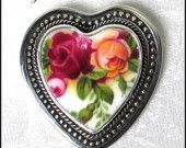 Broken China Jewelry Old Country Roses Heart Pin Brooch