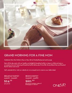 Spend quality time with Mom on a relaxing Sunday  in downtown Union Square and treat Mom to a lovely breakfast buffet or champagne brunch at OneUp! Call 1-415-848-6187 or visit oneupsf.com for reservations!