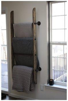 Blanket Rack, Blanket Storage, Blanket Ladder, Furniture Projects, Home Projects, Diy Furniture, Living Room Storage, Home Living Room, Farmhouse Blankets