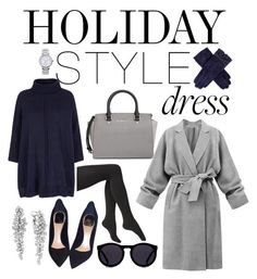 """""""Ready For The Holidays"""" by tatianavalador ❤ liked on Polyvore featuring MICHAEL Michael Kors, Via Spiga, Yumi, Christian Dior, Le Specs, Dents, Michael Kors, Effy Jewelry, holidaystyle and oversizeddress"""