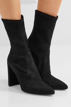 Heel measures approximately 80mm/ 3 inches Black suede Pull on Made in Spain
