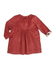 LUCIA Short-Sleeve+Corduroy+Dress,+Antique+Rose,+3M-2Y+by+Burberry+at+Neiman+Marcus.