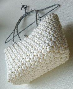 花結び編みのショルダーバッグ ミルク【受注製作】