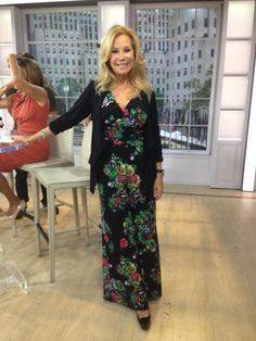 Kathie Lee Gifford hosting the on in our jumpsuit and cardigan. Kathie Lee Gifford, Today Show, Jumpsuit, Dresses With Sleeves, Long Sleeve, Fashion, Overalls, Moda, Sleeve Dresses