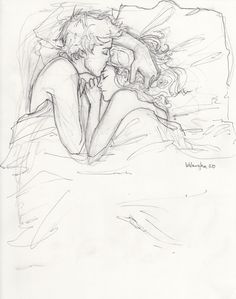 """i love everything about this sketch. it is sharp yet has undefined lines. it is powerful while at the same time it remains subtle. but i especially love how it reminds me of that feeling. that feeling right before you fall asleep next to someone you love - that feeling where all the problems of the day melt away, and everything feels safe."""