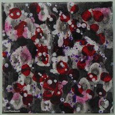 Black White Red & Purple Abstract Square Painting by LoveHandyWork Black White Red, Red Purple, Wrapped Canvas, Etsy Shop, Fine Art, Quilts, Abstract Paintings, Amp, Color