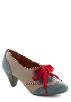 Shoeful of Sugar Heel. You may have heard this already, but there's nothing to perfect a sweet, well-measured look like a good pair of heels. #grey #modcloth