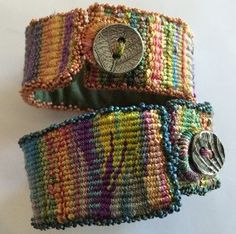cuffless tapestry bracelets, could use silk, perl cotton, or embroidery floss