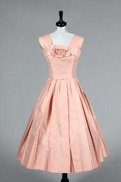 Christian Dior New York pink slubbed silk cocktail dress, late 1950s
