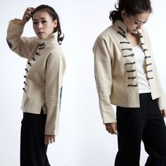 Natural linen stand up collar short winter jacket off white traditional Chinese…