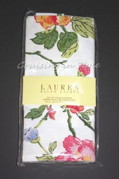 Ralph Lauren White Floral Caroline Cloth Napkins NEW 4 Table Linens Cotton #RalphLauren