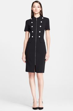 Milano Knit Military Dress / St. John Collection