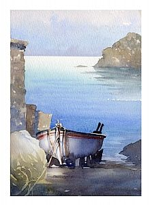 greek boat - 1 by Thomas W Schaller Watercolor ~ 13 inches x 9 inches