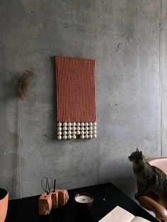 Midcentury Modern Art Macrame Wall Hanging, Burnt Orange Wall Art by KNOT living