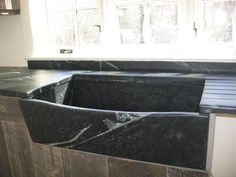 Slant front scooped top, Franklin edges, recessed and runnels drainboard, splash up to sill Farmhouse Sink Kitchen, Interior Design Inspiration, Soapstone, Stone Sink Kitchen, Stone Kitchen, Stone Sink, Sink, Sink Design, Bathroom Inspiration