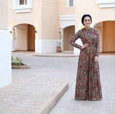 Blogger Ascia AKF The Hybrids in Tory Burch Leane Gown long sleeve maxi dress | Mode-sty stylish modest clothing #nolayering
