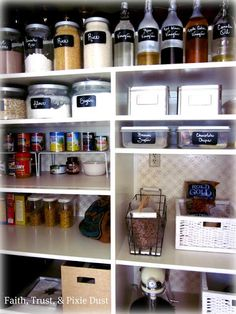 14 Inspirational Kitchen Pantry Makeovers - Home Stories A to Z. Love the black labels.  Wallpaper in back.  Put appliances in pantry.