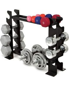 A dumbbell rack is one of the easiest ways to organize your home gym.