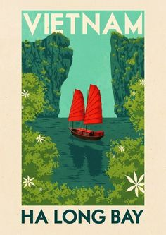 Shop Vintage Travel Poster Ha Long Bay Vietnam created by riverme. Personalize it with photos & text or purchase as is! Retro Poster, Old Poster, Vintage Travel Posters, Print Poster, Vietnam Voyage, Vietnam Travel, Visit Vietnam, Tourism Poster, Travel Ads