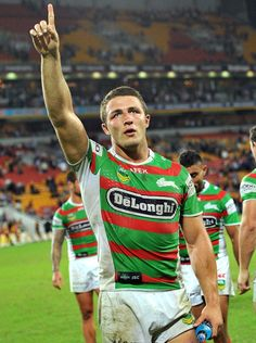 Sam Burgess Photos - Sam Burgess of the Rabbitohs celebrates victory after the round eight NRL match between the Brisbane Broncos and the South Sydney Rabbitohs at Suncorp Stadium on May 2013 in Brisbane, Australia. - Broncos v Rabbitohs Rugby Muscle, Rugby Cup, Sam Burgess, National Rugby League, Brisbane Broncos, Hot Rugby Players, Super Rugby, Australian Football, Hard Men