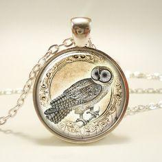 Owl Necklace Woodland Forest Animal Jewelry 1636S1IN by rainnua
