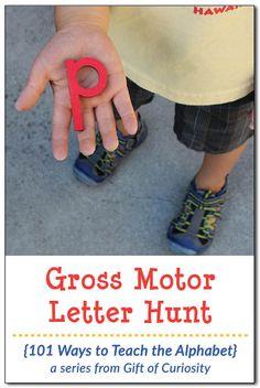Gross Motor Letter Hunt 101 ways Gross Motor Activities, Science Activities For Kids, Gross Motor Skills, Alphabet Activities, Literacy Activities, Educational Activities, Preschool Activities, Preschool Kindergarten, Preschool Boards