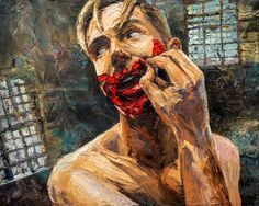 "My #selfportrait ""Deep Red #warpaint #painting #art #expressive #portrait #paulrichmond"