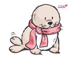 Lepicí obraz na stěnu bílý svět Baby Animal Drawings, Cartoon Drawings, Cute Drawings, Baby Animals, Cute Animals, Cute Seals, Mundo Animal, Kawaii Wallpaper, Penny Black