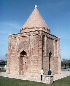 Photo of 11th century mausoleum of Aisha-Bibi, located 18km (11 miles) west of Taraz, Kazakhstan.