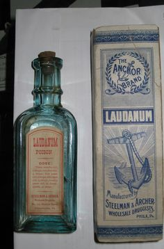 Laudanum was a wildly popular drug during the Victorian era. It was an opium-based painkiller prescribed for everything from headaches to tuberculosis - dosage listed from 3 month olds to adults! Old Medicine Bottles, Antique Bottles, Vintage Bottles, Bottles And Jars, Glass Bottles, Vintage Advertisements, Vintage Ads, Vintage Labels, Medical History