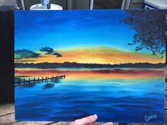 Hey, I found this really awesome Etsy listing at https://www.etsy.com/listing/236391256/original-lake-sunset-oil-painting-12x16