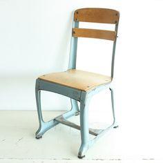 Vintage chair - kids chair - childs chair - school chair - kiddie chair - wood - metal - photo prop - American Seating - Envoy - light blue by OldCottonwood on Etsy