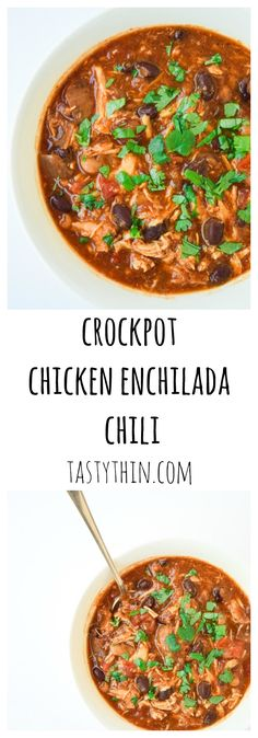 Crockpot Chicken Enchilada Chili - Loaded with flavor and protein packed, this simple chili will be a family favorite! | tastythin.com