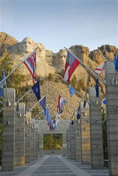 Flags at Mt. Rushmore