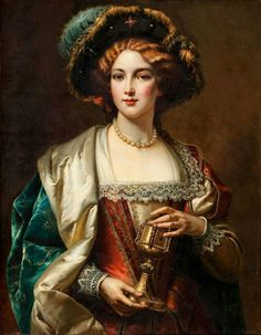 """""""The Portrait of a Nobelwoman"""",  Painting by Cesare Auguste Detti,  Italian, 1847 - 1914"""