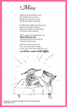 Funny Children& Poem about a girl who is afraid of the dark. Great for school and classroom activities. common core first grade, second grade, third grade reading Poetry Unit, Poetry Books, Teaching Poetry, Teaching Reading, Kids Poems, Funny Poems For Kids, Poetry Journal, Poetry For Kids, Third Grade Reading