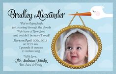 How precious will your little one look framed in this adorable vintage baby blue stork birth announcement design? Show off your beautiful new baby with this gorgeous blue birth announcement. www.delightinvite.com
