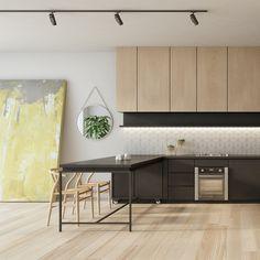 How to Find Small Kitchen Design Ideas & Tips - homeuntold Kitchen Sets, Ikea Kitchen, Home Decor Kitchen, Kitchen Interior, Interior Design Living Room, Kitchen Dining, Home Design, Küchen Design, Design Ideas